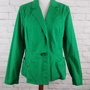 Cabi Blazer One Button Long Sleeve Pockets Green